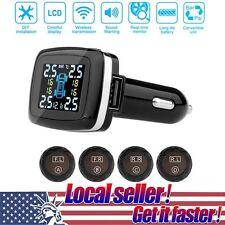 Wireless Car TPMS PSI Tire Pressure Monitor System+4 External Sensor LCD Display