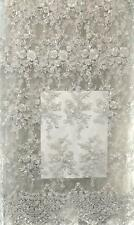 WHITE CORDED FRENCH LACE HEAVILY BEADED; 5 YARDS AND WIDTH IS 50 INCHES.