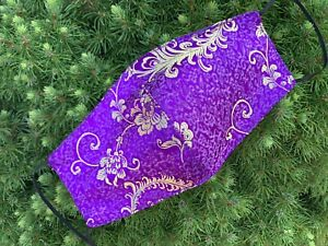 Purple Silk Face Mask, 100%, Women's Mask, Reusable, Washable, Artistic, USA