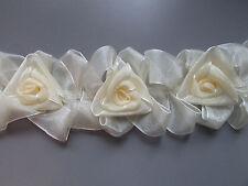 STRETCH ELASTICIZZATA Organza Fiori Rose Crema/Avorio Taglia per cucito/costumi/Artigianato