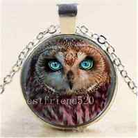 Owl Green Eye Photo Cabochon Glass Tibet Silver Chain Pendant  Necklace