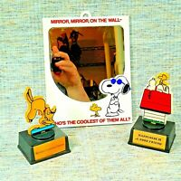 Vintage SNOOPY & Woodstock 1971 JOE COOL Mirror & 2 Snoopy Trophy's Peanuts