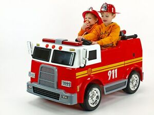 Fire Truck 4 Wheel Drive Kids Ride Battery Powered Electric Car w/Remote Control