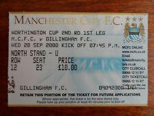 2000/01 - MANCHESTER CITY v GILLINGHAM - LEAGUE CUP 2nd Rnd TICKET / STUB