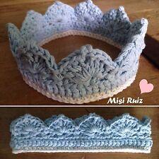 Corona Bebe 0/3 Meses Crochet Ganchillo Foto Atrezo Nuevo Artesanal Azul