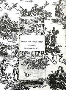 "Tissue Paper - Romantic Toile - Black Design on WHITE Tissue-10 sheets 20"" x 30"""