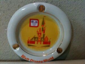 Vintage Walt Disney World Productions Japan Ashtray Gold Cinderella's Castle 70s