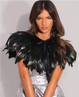 Black Feather Sewing Trimming Collar Peacock Shawls Fringe Evening Dress Coque