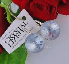 925 SILVER EARRINGS CRYSTALS FROM SWAROVSKI® ROUND SEA URCHIN BLUE SHADOW 14MM