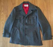 McGregor Coat 1950's VTG Jacket 42 Large XL Wool Grey With Red Stitching USA