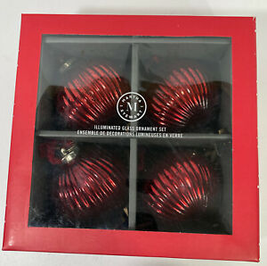 Martha Stewart Illuminated Ornaments Set Of 4 Bedford Collection Red Glass