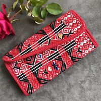 Mexican women's wallet Hand Embroidered fabric and Suede Leather from Chiapas