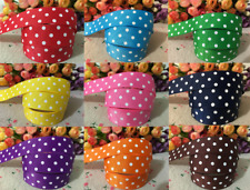 "1M Polka Dot Ribbon 7/8"" 22mm GROSGRAIN RIBBON MANY COLOURS CAKE BOARDS CRAFTING"