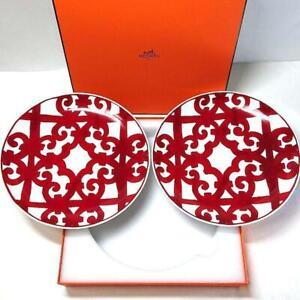 Hermes Guadalquivir Red Dessert Plate Tableware set Dish Porcelain Ornament New