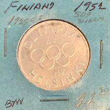 Finland SILVER 500 Markkaa 1952 Helsinky 5 Rings - northern most Summer Olympics