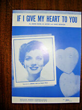 Vintage Sheet Music 1954-If I Give My Heart To You-Denise Lor-Piano-Ukulele-song