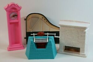 RARE Barbie Stone Fireplace Mantel GRILL Dream House MUCH TO DO Clock Piano Part