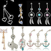 Hottest Crystal Button Dangle Barbell Bar Belly Navel Ring Body Piercing Jewelry