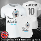 Diego Maradona Football Legend RIP T-shirt Mens Ladies Kids Babies