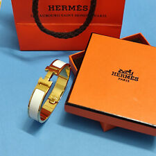 Hermes Enamel Bracelet 18K Gold Tone Brass Clic Clac H Bangle White PM