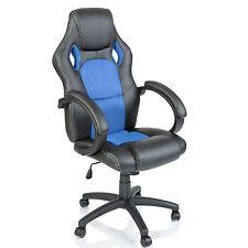 TRESKO® Sedia da ufficio girevole per casa Poltrona ufficio Racing Sport Azzurro