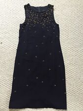 J Crew New Collection Navy Midi Silk Embellished Dress Size 2 4 Sold Out!