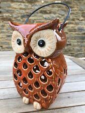 Ceramic Pumpkin Tea T Lite Halloween Garden Decorations  Rustic Dark Orange OWL