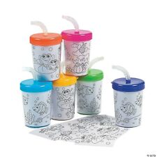 Do It Yourself Cups With Lids & Straws - Craft Kits - 24 Pieces