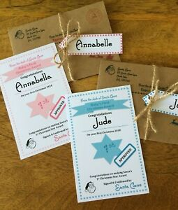 """Personalised Baby's First Christmas """"Nice"""" List Letter/Certificate From Santa"""