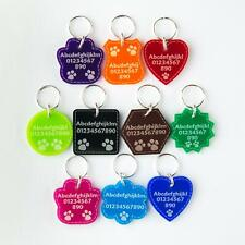 Cat Tag Dog Tags Pet ID Personalised Engraved Acrylic Plastic