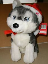 "Barbie HUSKY Wolf Dog 11"" Plush Santa Hat Christmas 2011 Mattel Stuffed NWT"