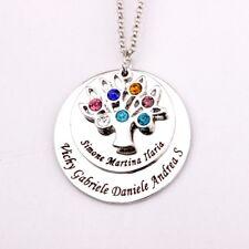 Halskette Herz mit Gravur bis zu sieben Namen Familie Namenskette Baum Stammbaum
