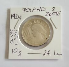 2 Zlote Polonia Plata 1924 (.750) Mint (Cornucopia-Antorcha de París) moneda circulante