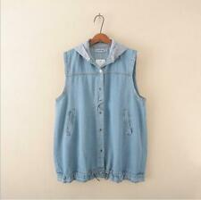 New Women's jeans Waistcoat Hooded Vest Denim Gilet coat Size 16 18 20 22 24 26