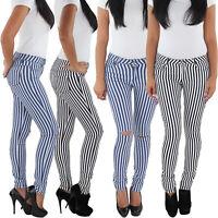 SOTALA Damen Stretch Hüft Röhren Jeans Hose Slim Fit Skinny gestreift Streifen