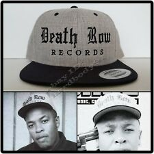 25caa66b0be NEW Death Row Records Black Brim Gray Snapback Cap Hat NWA Dr Dre 2Pac  Compton
