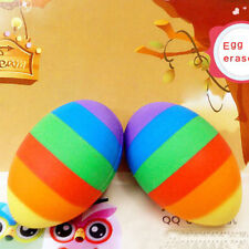 Ep_ 2Pcs Multicolor Stone Egg Shape Soft Pencil Erasers Stationery Supplies Tast