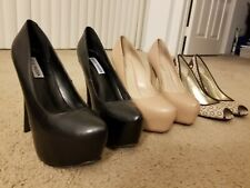 Steve Madden Aldo Guess Heels Size 8 Pumps Black Nude Leather Platform Stiletto