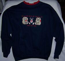 3 Teddy Bears Sweatshirt with Hear No Evil, See No Evil, Speak No Evil PMedium