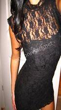 Black Sexy Lace High Collar See Through Bebe Skov Clubbing Goth Mini Dress Small