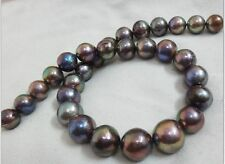 """HUGE 18""""13-16MM SOUTH SEA GENUINE BLACK MULTICOLOR ROUND NUCLEAR PEARL NECKLACE"""