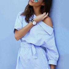 Trendy Women Dress Summer Casual Striped shirt Dresses Cotton Blend Clothing