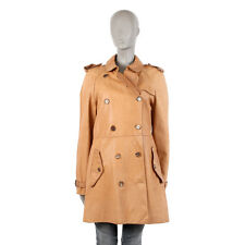 40084 auth BURBERRY LONDON tan beige leather Trench Coat Jacket 12 L