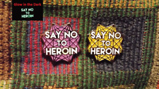 Set of 2 Just Say No To Heroin Glow in the Dark Glitter Sacred Geometry Hat Pins