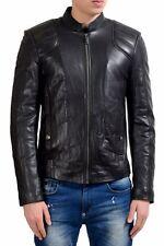 Versace Jeans Men's 100% Leather Black Full Zip Jacket US S IT 48