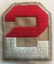 2nd US Army original 1940s embroidered on khaki twill Patch with tan border