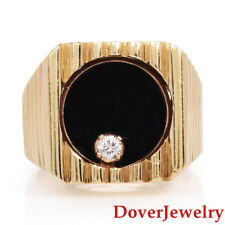 Estate Diamond Onyx 14K Yellow Gold Wide Rotating Men's Ring 19.9 Grams NR