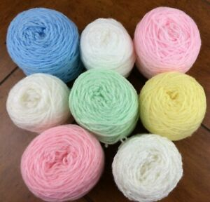 MIXED LOT 923 SWEET BABY Yarn Cakes Green Yellow Pink Blue White Knit Crochet
