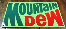 MOUNTAIN DEW SODA POP 1970s LOGO HIGHLY EMBOSSED METAL RETRO ADVERTISING SIGN