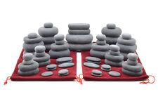 MassageMaster HOT STONE MASSAGE SET: 60 Basalt Stones in 2 Drawstring Bags